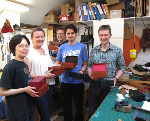 Students at a leatherwork course